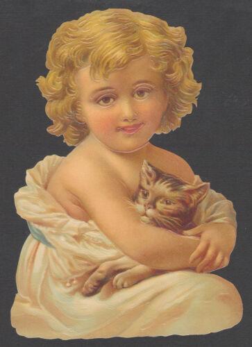 GIRL CHILD KITTEN CAT VICTORIAN ANIMAL  EMBOSSED GERMAN PAPER SCRAP CARD PET