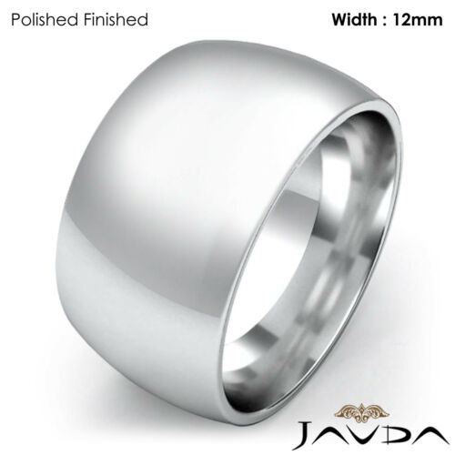 Huge Mens 12mm Solid 14k Gold White Plain Dome Wedding Band Ring 18.8gm 1111.75