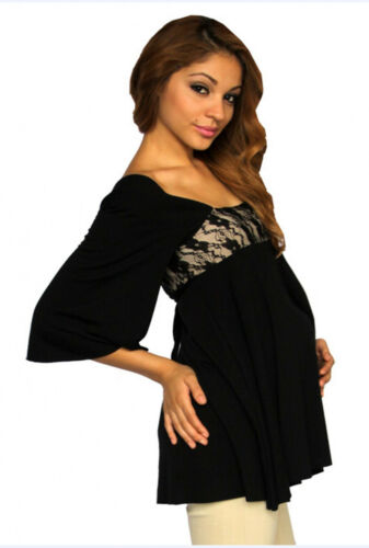 Black Brown Maternity Blouse Tunic Womens Solid Long Sleeve Black Bow  S M L XL