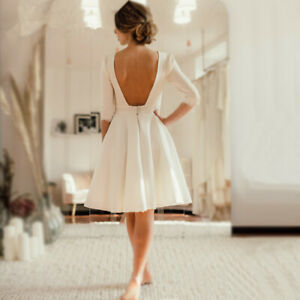 2019-Short-Wedding-Dress-Open-Back-Crepe-Knee-Length-Bridal-Dresses-Short-Sleeve