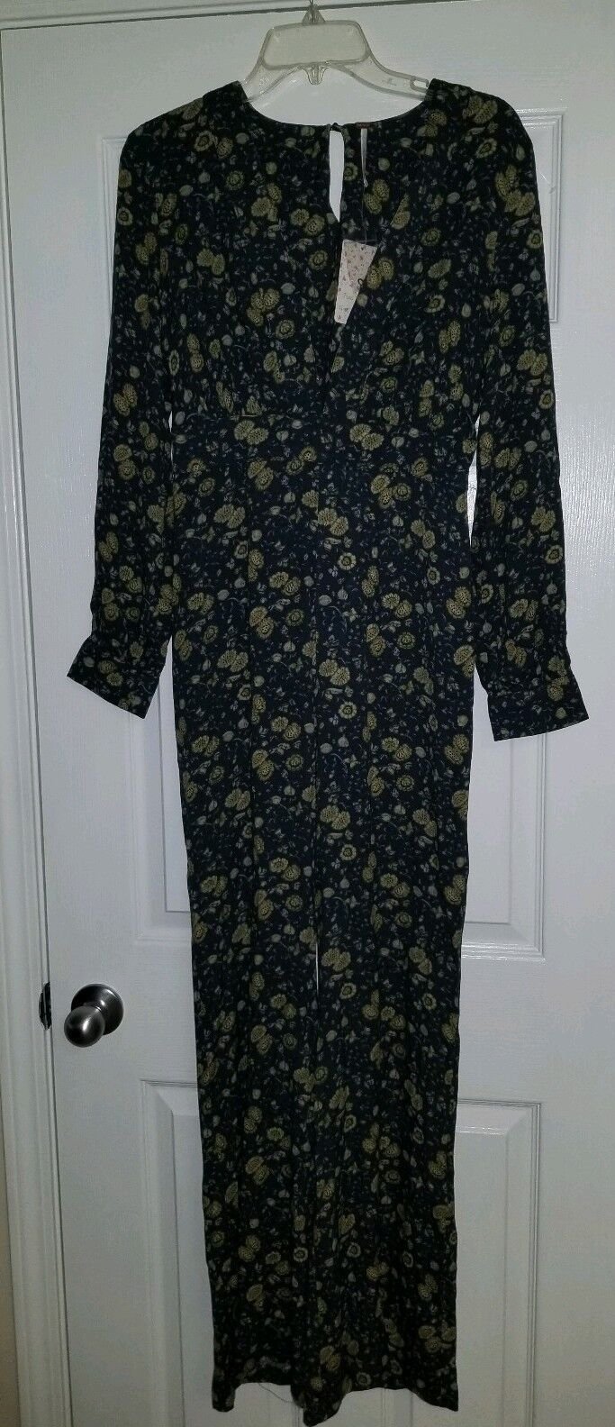 NEW FREE PEOPLE FLORAL NAVY blueE BOHO JUMPSUIT WOMENS SIZE 2