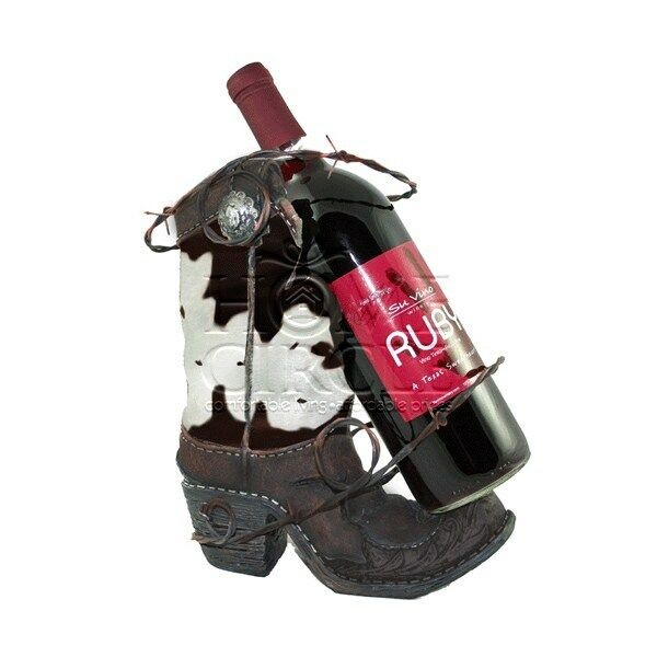 Rustic Western Style Cowboy Boot Wine Bottle Champagne Holder Bar Alcohol