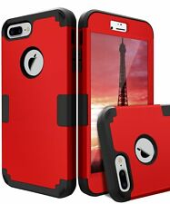 New iPhone 7 Plus Case 3 Layer Shockproof Heavy Duty Hybrid Resistant Cover Red
