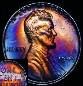 UNCIRCULATED-1949-P-BU-39j-VIBRANT-Rainbow-MONSTER-Toned-Penny-Wheat-Cent