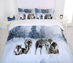 Single-KS-Double-Queen-King-Size-Bed-Quilt-Doona-Cover-Set-Snow-Wolf-Family