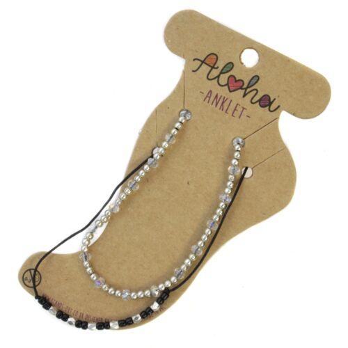 Ladies Crystal Bead Beach Cord Ankle Bracelet Adjustable Anklet Foot Jewellery