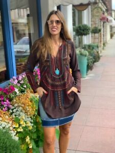 NWT-Johnny-Was-Biya-Brown-Long-Sleeved-Tunic-Embroidered-Blouse-Top-SMALL