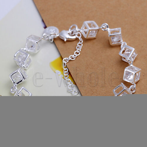 Pure CZ Cubic Zirconia WT Completed LOVE Charm Silver Plated Bracelet