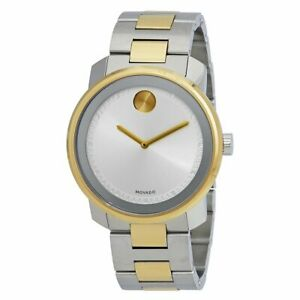 Movado Men's Two Tone Steel Watch - Bold Silver Dial Swiss | 3600431
