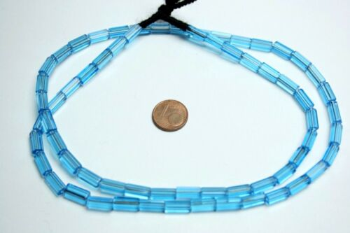 Strang 64 cm Aqua marine pentagonal Stift Stab Röhre böhmische Glasperlen 5 X 11