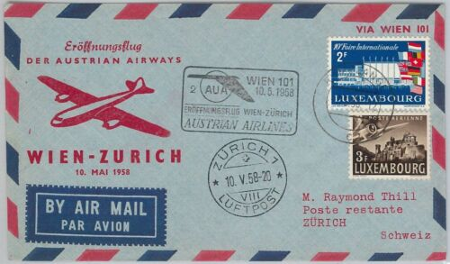 AUSTRIAN AIR 1st FLIGHT AIRMAIL COVER Wien Zürich LUXEMBOURG Distpatch 1958