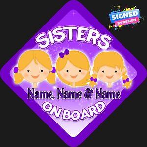 Personnalisé enfant//bébé à bord voiture signe ~ nos princesses à bord ~ violet