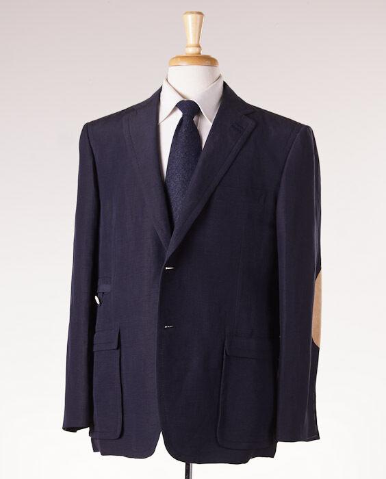NWT 3295 D'AVENZA Suede-Trimmed Navy Linen-Silk Blazer Slim 44 R Sport Coat
