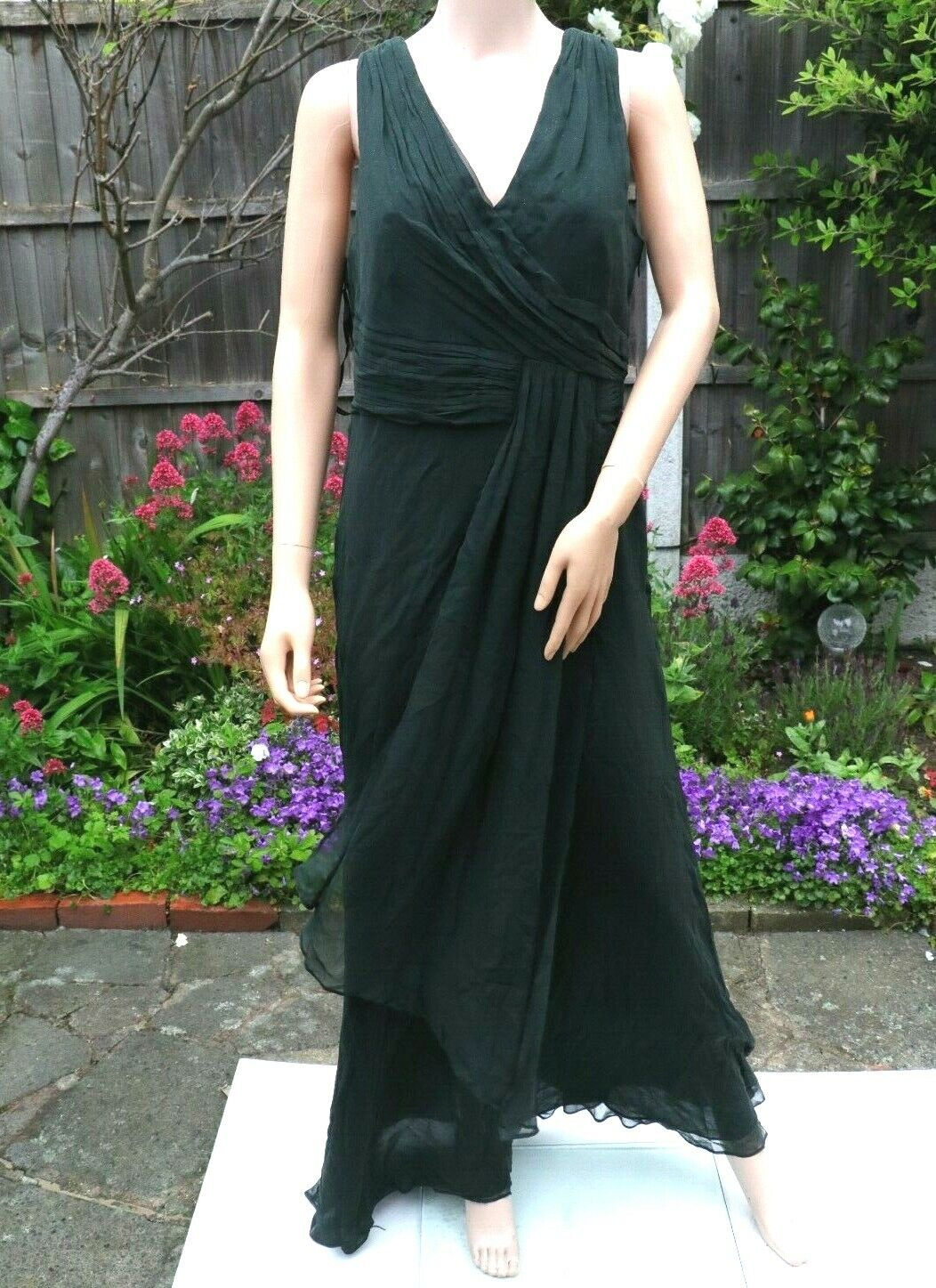 coast almera maxi party evening cocktail dress in green uk14