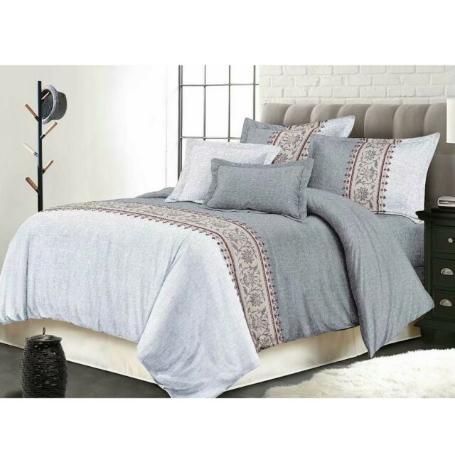 7 Piece MYA Embroidery Patchwork Bed in a Bag Comforter Sets Queen King CK