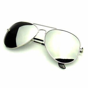 SUNGLASSES Aviator Mens Womens Retro Polarized Full Mirror Silver Sunglasses