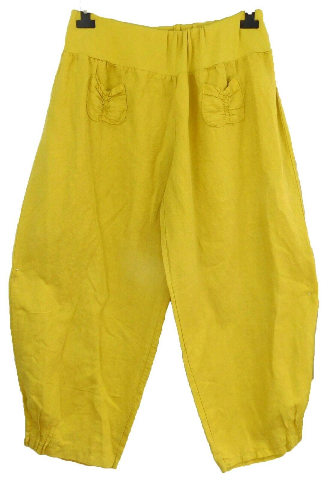 Labass Pantalon Lin stretchbund grand Décontracté jaune maïs superposé Taille 3 = 56-58