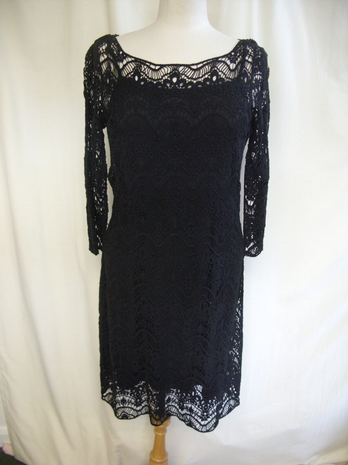 Damas Vestido Ralph Lauren Talla M, Negro  Encaje de Algodón & SLIP, nuevo pero segundos 2239  ahorra hasta un 30-50% de descuento