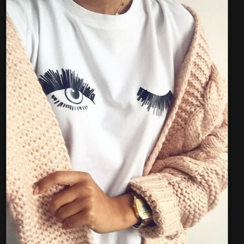 Summer Causal Short Sleeve T shirts Women Round Neck Wink Eyes Print Cute Tee 6A