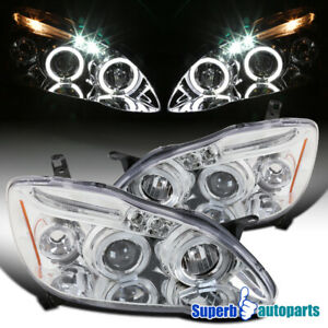 For-2003-2008-Toyota-Corolla-LED-Halo-Projector-Headlights-Lamps-Replacement