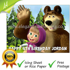 MASHA AND BEAR CAKE TOPPER A4 PERSONALISED EDIBLE BIRTHDAY CAKE