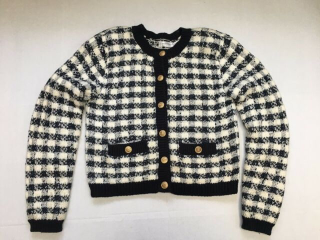 Vintage Liz Claiborne Checked Cropped Gold Buttons Cardigan Sweater Jacket S