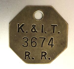 Vintage Tool Check Brass Tag:  KENTUCKY & INDIANA TERMINAL RAILROAD ( K&IT RR)
