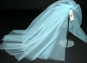 Image Is Loading Blue Wedding Veil Elbow Length Fingertip Floor Short