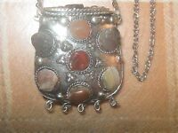 India 45mm Gemstone Silver Brass Poison Locket Purse Jasper Pendant Necklace