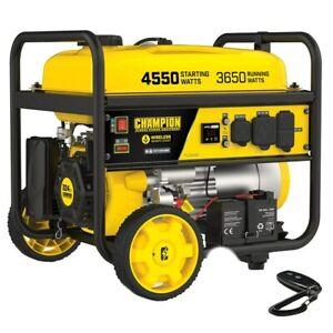 Champion 200971 - 3650 Watt Electric Start Portable Generator w/ RV Outlet & ...