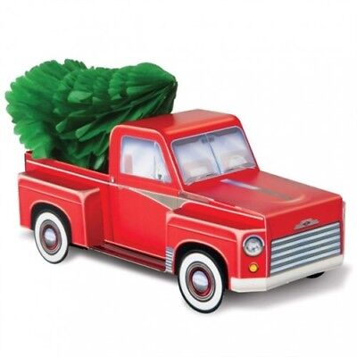 3 D Christmas Red Truck With Tree Centerpiece Old Red Truck Christmas Decor Ebay