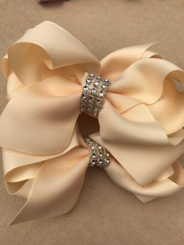 Hair Bow fille bébé environ 8.89 cm Handmade Cristaux Crème Pince à cheveux grand 3.5 in