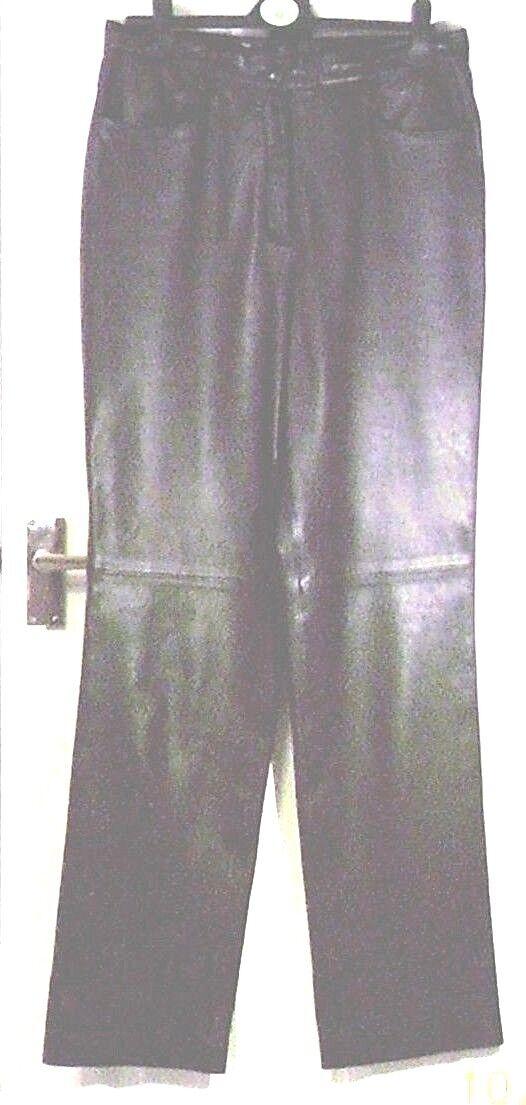 Negro de Cuero Real GERRY WEBER  largo 34  la Cintura Pantalones M uk14eu40us10 w31in w79c  en venta en línea