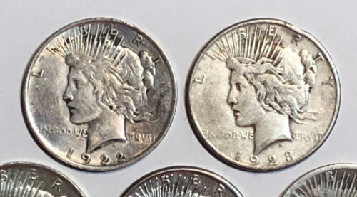 Mixed Dates /& Mint Marks Lot of 5 Cull 1922-1935 $1 Silver Peace Dollars