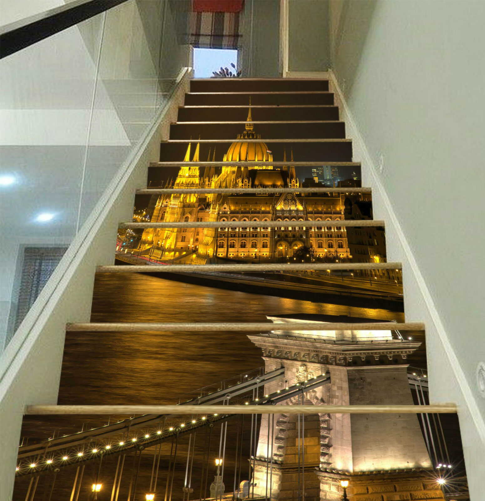 3D Nacht Ansicht 32 Stair Risers Dekoration Fototapete Vinyl Aufkleber Tapete DE