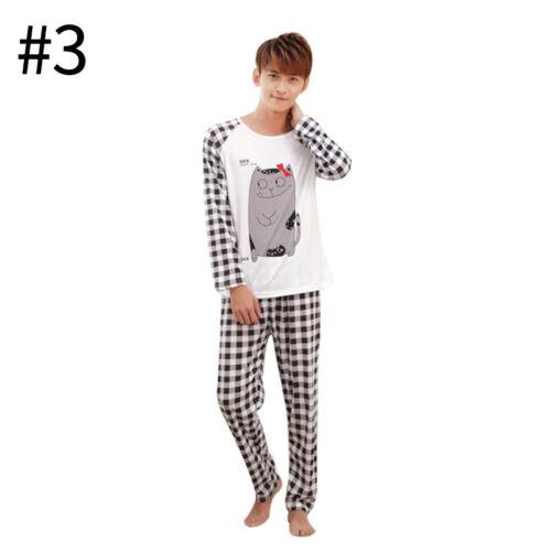 Men Women Sleepwear Cute Long Sleeve Pajamas Home Couples Soft Daily Nightwear