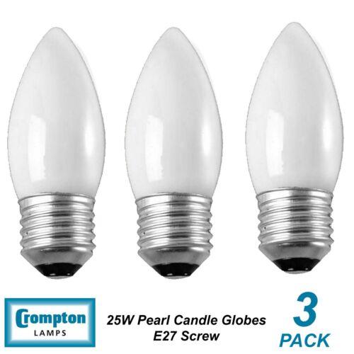 Bulbs Lamps Edison Screw 3 x 25W Pearl E27 Candle Shaped Light Globes