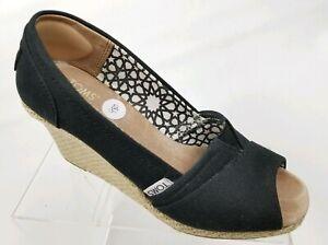 8f95adffe31 Details about TOMS Women's Espadrilles Peep Toe Wedge Sandals Black Canvas  Heels Size 7.5
