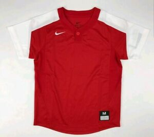 Nike-One-Button-Laser-Jersey-Youth-Boy-039-s-Medium-Red-White-Baseball
