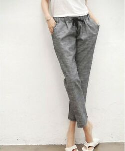 select for original good reputation 2019 authentic Details about Elegant Korean Style High Waist Loose Summer Casual Women  Linen Pants Trousers
