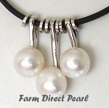 """Genuine White Pearl Pendant Necklace 18"""" Inch Rubber String Cultured Freshwater"""
