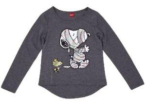 Girls-Peanuts-Snoopy-Woodstock-Mummy-Shirt-Gray-Halloween-Long-Sleeve-Foil-XS-S