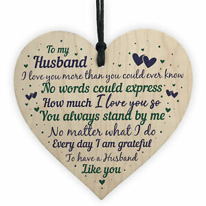 Christmas Gifts For Husband.Details About Husband Anniversary Gift From Wife Handmade Wooden Heart Poem Christmas Gifts