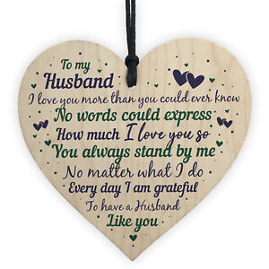 Gifts For Husband Christmas.Details About Husband Anniversary Gift From Wife Handmade Wooden Heart Poem Christmas Gifts