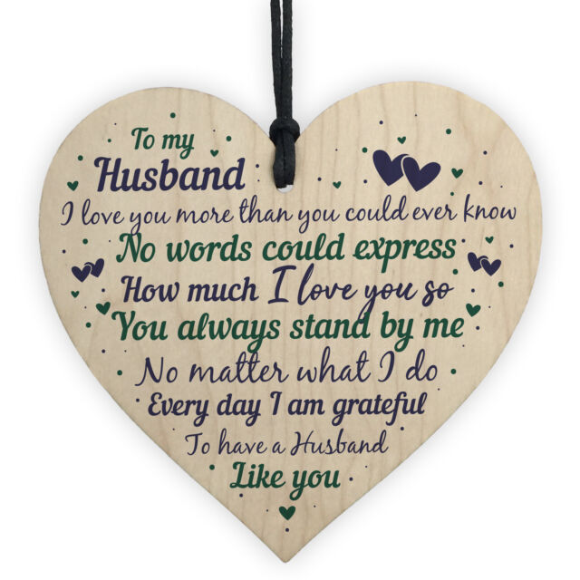 Husband Anniversary Gift From Wife Handmade Wooden Heart Poem Christmas  Gifts