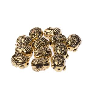 New-Tibetan-Silver-Gold-Bronze-Metal-Buddha-Head-DIY-Bracelets-Loose-Beads-10pcs