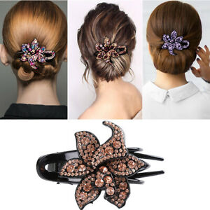 Women-039-s-Crystal-Hair-Clips-Slide-Flower-Hairpin-Pins-Comb-Hair-Grips-Accessories