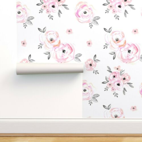 Removable Water-Activated Wallpaper Floral Pastel Mod Baby Girl
