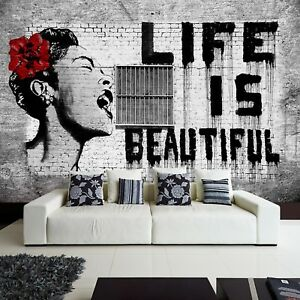 moderne-Tapete-Vlies-Fototapete-neues-Design-Graffiti-Banksy-Life-is-beautiful
