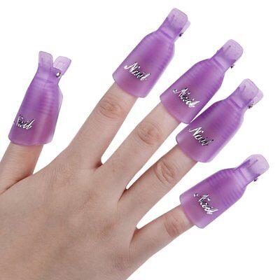 10Pcs Plastic Acrylic Nail Art Soak Off Clip Cap UV Gel Polish Quick Remover US